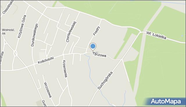 Bytom, Tęczowa, mapa Bytomia