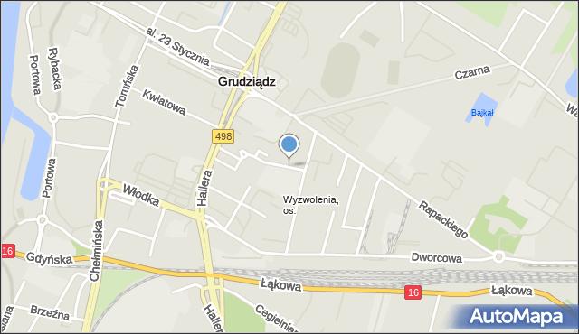 Grudziądz, Teatralna, mapa Grudziądza