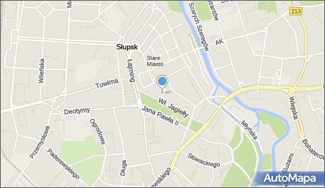 Słupsk, Teatralna, mapa Słupska