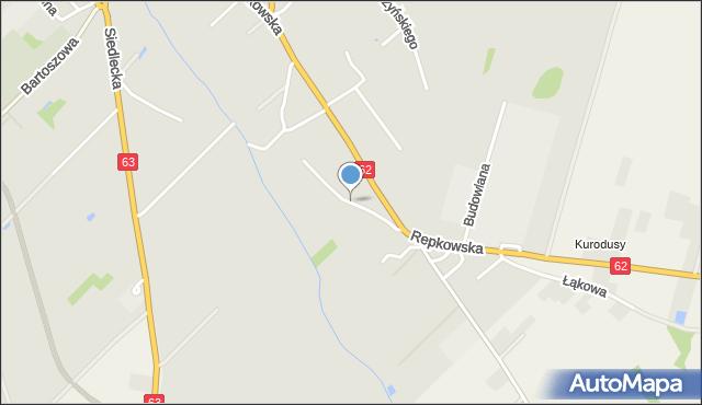 Sokołów Podlaski, Teligi, mapa Sokołów Podlaski