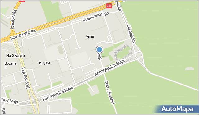 Toruń, Teligi Leonida, mapa Torunia