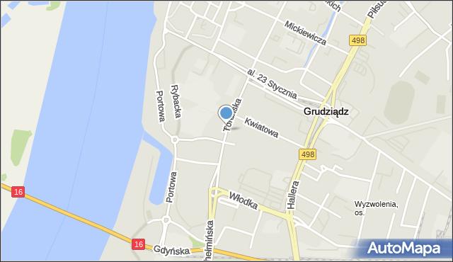 Grudziądz, Toruńska, mapa Grudziądza