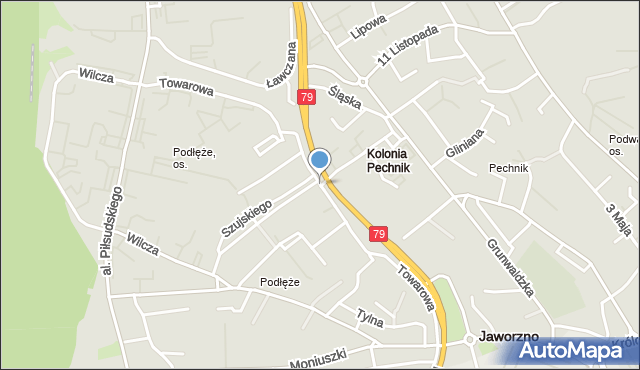 Jaworzno, Towarowa, mapa Jaworzno