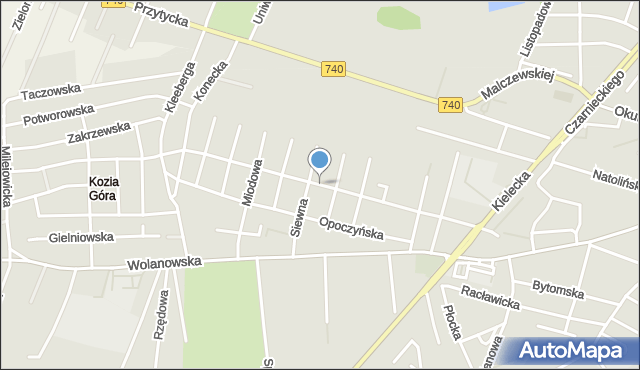Radom, Topiel, mapa Radomia
