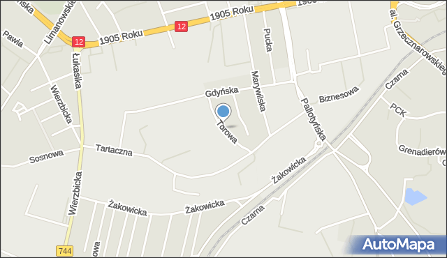 Radom, Torowa, mapa Radomia