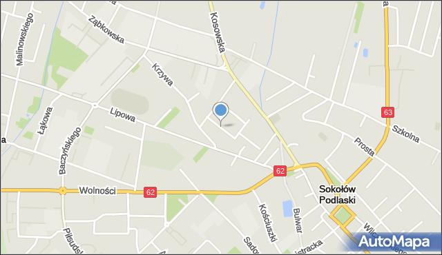 Sokołów Podlaski, Topolowa, mapa Sokołów Podlaski