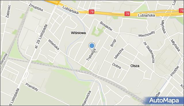 Kraków, Trębacza Piotra, mapa Krakowa