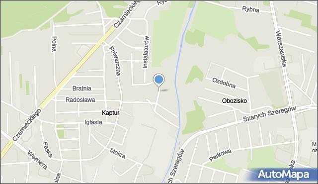 Radom, Trzcinowa, mapa Radomia