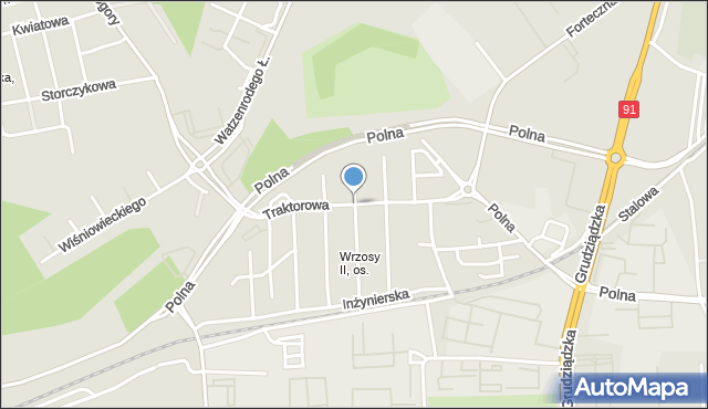 Toruń, Traktorowa, mapa Torunia