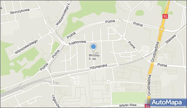 Toruń, Tramwajowa, mapa Torunia