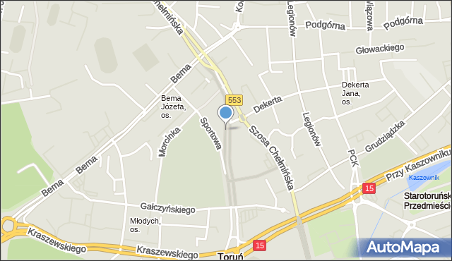 Toruń, Trasa Staromostowa, mapa Torunia