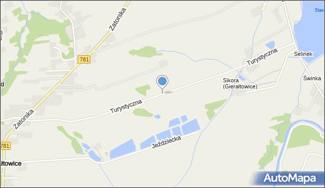 Gierałtowice gmina Wieprz, Turystyczna, mapa Gierałtowice gmina Wieprz