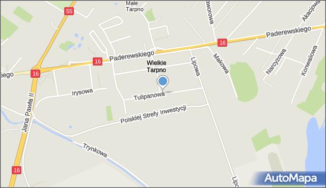 Grudziądz, Tulipanowa, mapa Grudziądza