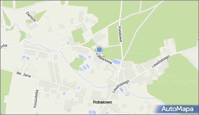 Robakowo gmina Luzino, Tulipanowa, mapa Robakowo gmina Luzino
