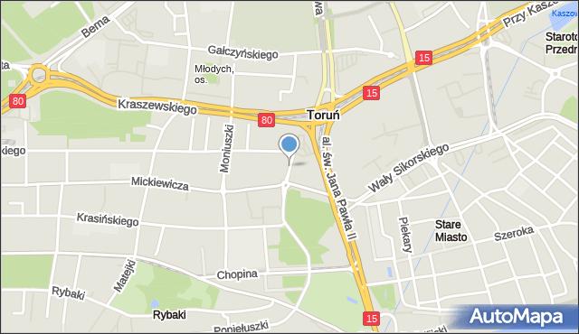 Toruń, Tujakowskiego Alojzego, mapa Torunia