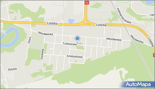 Toruń, Turkusowa, mapa Torunia