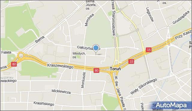 Toruń, Tuwima Juliana, mapa Torunia