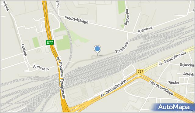 Warszawa, Tunelowa, mapa Warszawy