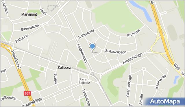 Warszawa, Tucholska, mapa Warszawy