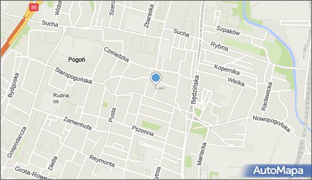 Sosnowiec, Twarda, mapa Sosnowca