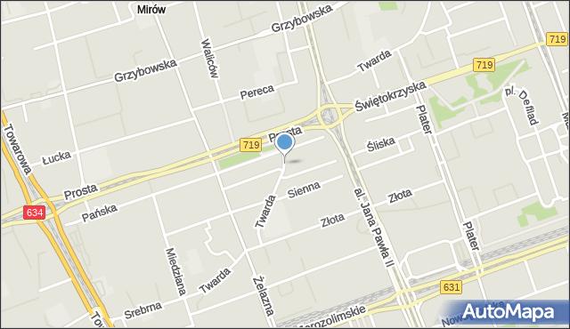 Warszawa, Twarda, mapa Warszawy