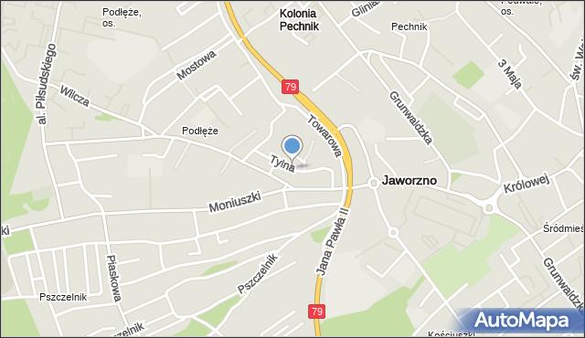 Jaworzno, Tylna, mapa Jaworzno