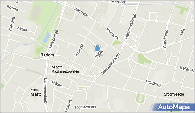 Radom, Tybla Aleksandra, mapa Radomia