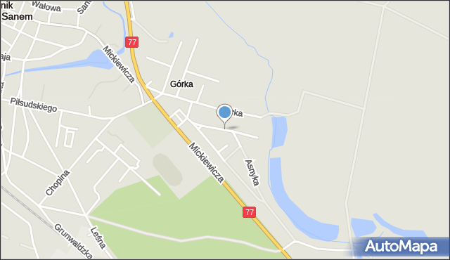 Rudnik nad Sanem, Tysiąclecia, mapa Rudnik nad Sanem