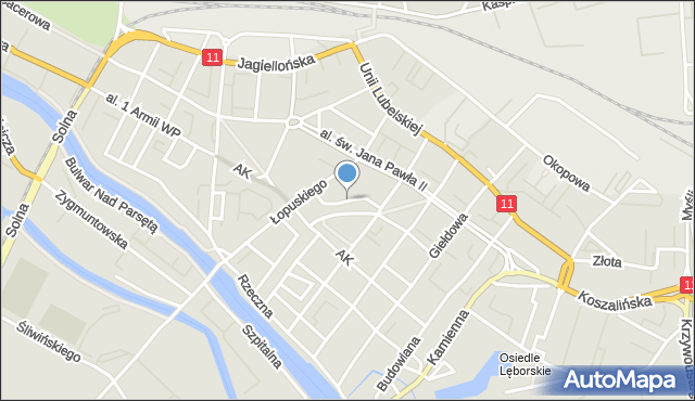 Kołobrzeg, Uczniowska, mapa Kołobrzegu