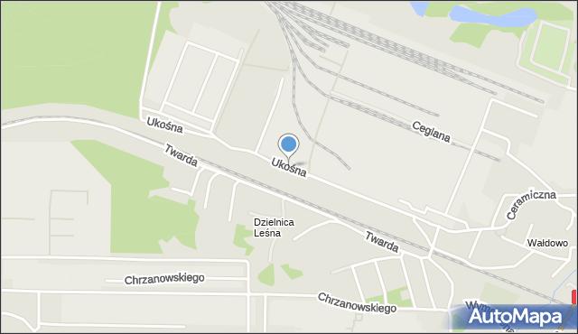 Toruń, Ukośna, mapa Torunia