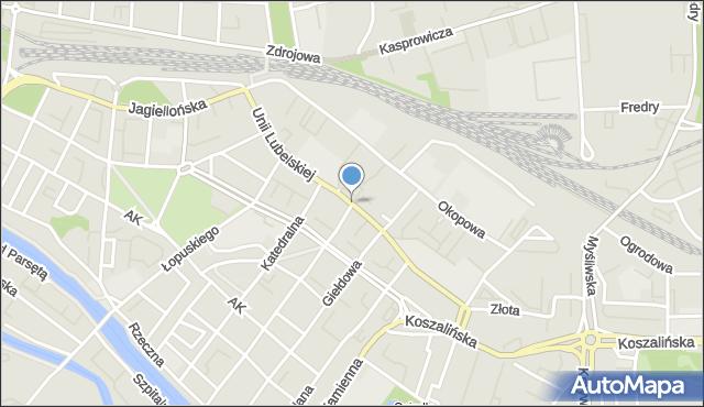 Kołobrzeg, Unii Lubelskiej, mapa Kołobrzegu