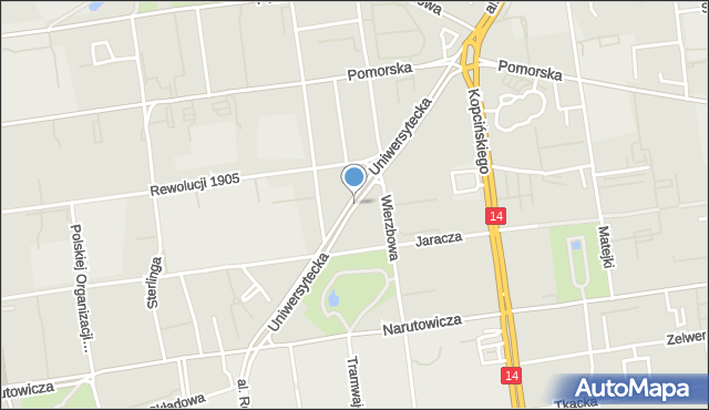 Łódź, Uniwersytecka, mapa Łodzi