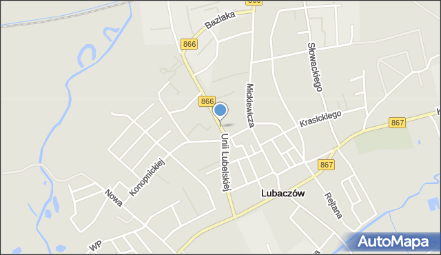 Lubaczów, Unii Lubelskiej, mapa Lubaczów