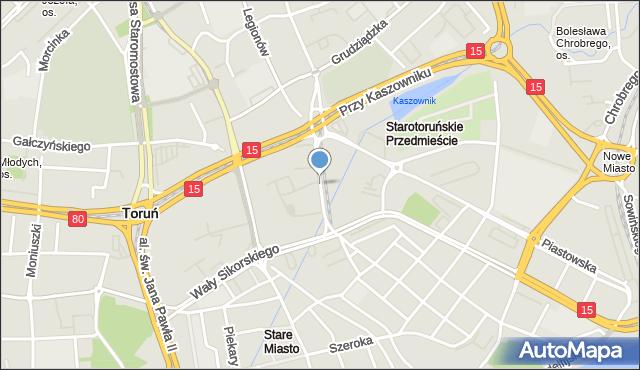 Toruń, Uniwersytecka, mapa Torunia
