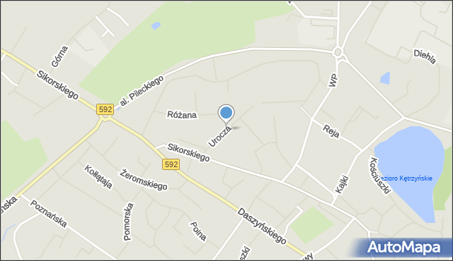 Kętrzyn, Urocza, mapa Kętrzyn
