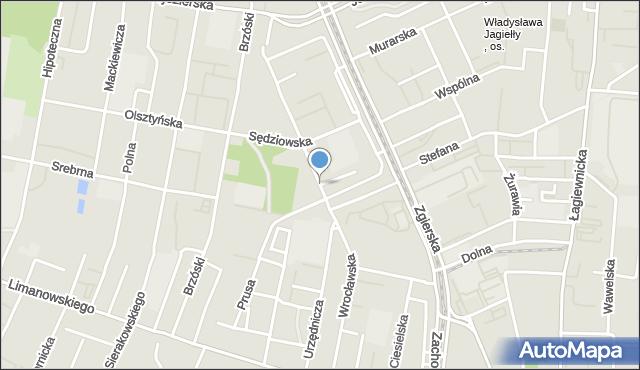 Łódź, Urzędnicza, mapa Łodzi