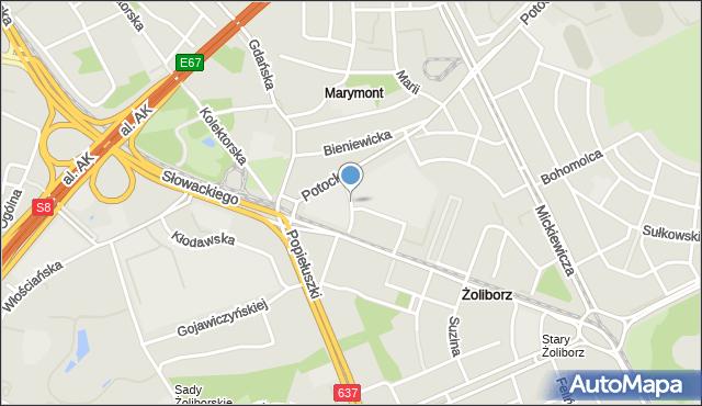 Warszawa, Urzędnicza, mapa Warszawy