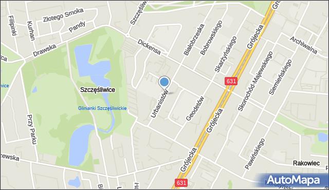 Warszawa, Urbanistów, mapa Warszawy