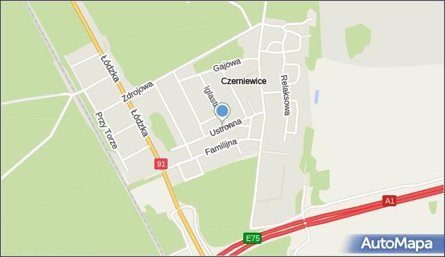 Toruń, Ustronna, mapa Torunia