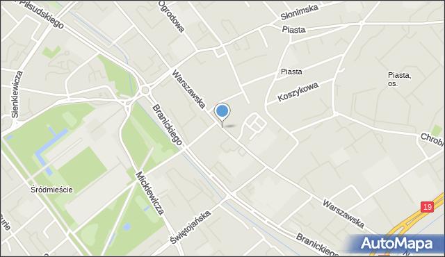 Białystok, Warszawska, mapa Białegostoku