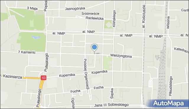 Częstochowa, Waszyngtona, mapa Częstochowy
