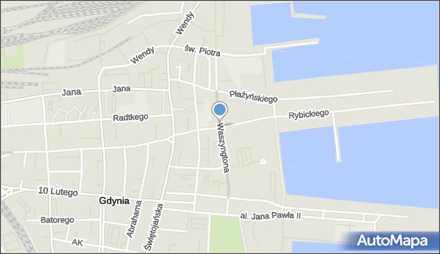 Gdynia, Waszyngtona Jerzego, mapa Gdyni