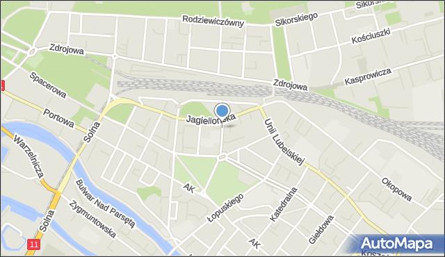 Kołobrzeg, Waryńskiego Ludwika, mapa Kołobrzegu