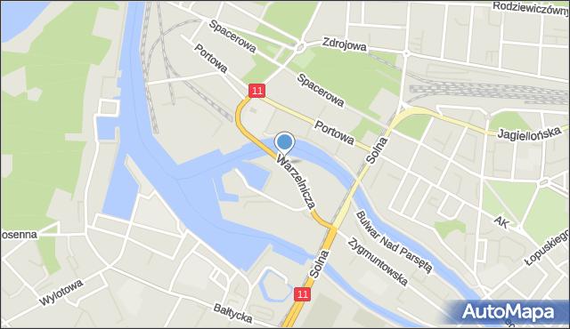 Kołobrzeg, Warzelnicza, mapa Kołobrzegu