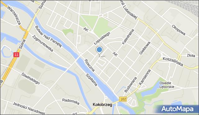 Kołobrzeg, Wąska, mapa Kołobrzegu