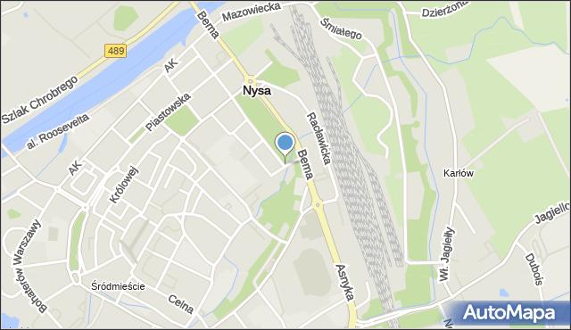 Nysa, Warszawska, mapa Nysy