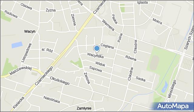 Radom, Wacyńska, mapa Radomia