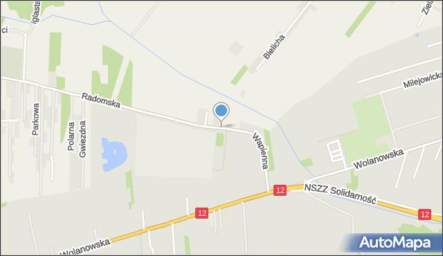Radom, Wapienna, mapa Radomia