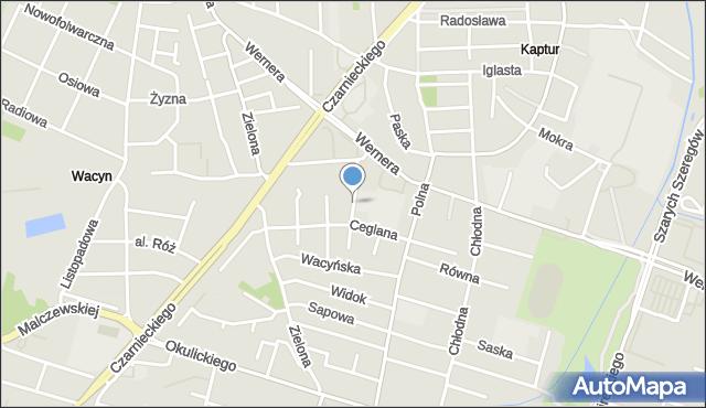Radom, Warneńska, mapa Radomia