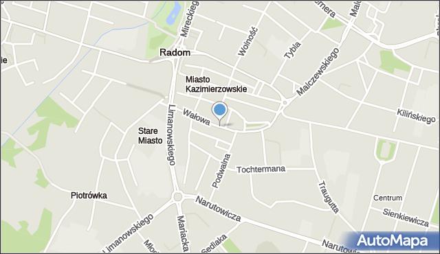 Radom, Wałowa, mapa Radomia